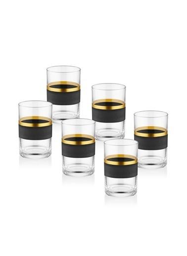 The Mia Glow Kahve Yanı Su Bardağı 6 Lı Set- Siyah & Gold Siyah